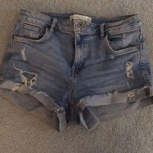 Ripped Light Wash Denim Shorts